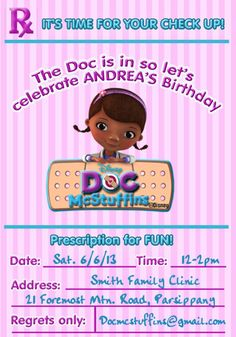 doc mcstuffins | Doc McStuffins Invitation- Doc McStuffins Birthday Invitation ...
