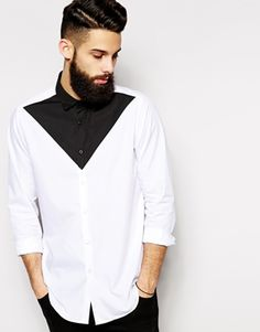ASOS Smart Shirt in Long Sleeves with Triangle Cut and Sew - Size M This would look good as a button-down casual dress shirt, with tails out and an unbuttoned collar Style Masculin, African Men, Herren T Shirt, Mode Style, Trendy Dresses, Black Men, Shirt Style, Casual Shirts, Men's T Shirts