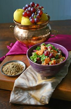 Egyptian tastes: sweet potato millet SALAD dukkahilla and roasted grapes Dairy Free Recipes, Gluten Free, Salad With Sweet Potato, Allergy Free, Grubs, Egg Free, Vegan Vegetarian, Salads, Roast