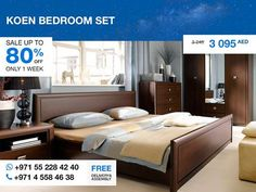 With straight lines, sharp angles, and strict rectangular holders, this set is undemanding yet stylish. It's made in Poland from high-quality chipboard with dark brown finish. The whole set includes a queen size bed, three-door wardrobe with mirror and two drawers, a chest with four drawers, two nightstands and a mirror. More details: http://gtfshop.com/koen-bedroom-set-queen-3-door