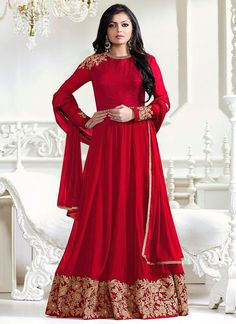 Red Faux Georgette Abaya Style Anarkali