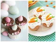 Cupcakes decorados com ovo e cenoura para a Páscoa