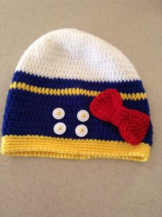 5fb15d966ed Donald Duck Inspired Crochet Beanie Hat with Bow (Sizes Newborn ...