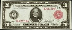 United States banknotes Twenty Dollar Federal Reserve Note Series of 1914 New York Portrait of Grover Cleveland at the center of the bill.