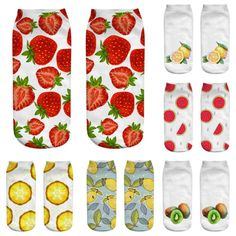 Girls/&Boys Fashion Casual Cotton 3D Printed Food Fruit Low Cut Ankle Socks Gift