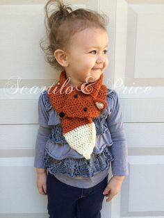 Crochet fox scarf handmade toddler child by ScartiloAndPrice