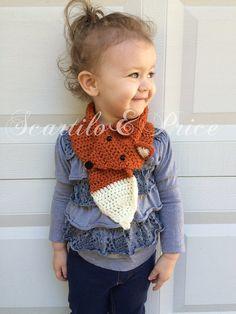 Crochet fox scarf handmade toddler child by ScartiloAndPrice