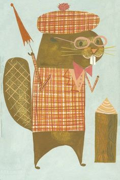 A beaver happy to see his dinner. Limited edition print by Matte Stephens.