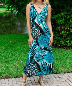 Look what I found on #zulily! Turquoise Jungle Cutout Maxi Dress #zulilyfinds