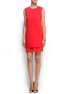 Mango - Double layers straight-cut dress