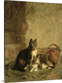 Julius (1852-1913) Adam Premium Thick-Wrap Canvas Wall Art Print entitled Cats, 1883, None