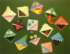 boekenmonster - Google zoeken Origami Paper, Bookmarks, Projects To Try, Paper Crafts, Halloween, Kids, Classroom, Teacher, Google