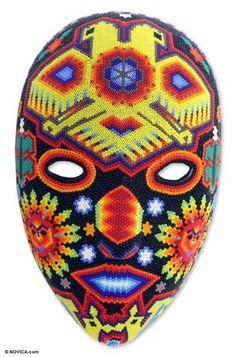 GOD'S DUALITY Beadwork HUICHOL BEADED MASK Sculpture Mexico Folk Decor ART