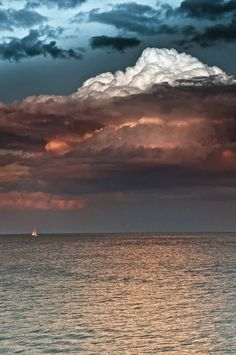 Stormy clouds sky ocean nature clouds boat