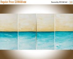 Turquoise yellow ochre painting on canvas original by QiQiGallery