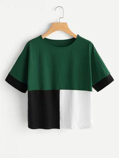 Cut And Sew T-shirt -SheIn(Sheinside)