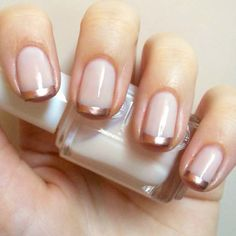 5 of 10 Cute #Frenchnails: #Bronze Twist. One gorgeous look from Nails Always Polished uses bronze on instead of acrylic white for an eye-catching twist. #frenchtips #frenchmanicure #bronzenails