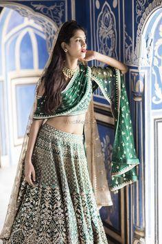 Love this green Anita Dongre gota patti wedding lehenga. Indian Bridal Wear, Indian Wedding Outfits, Indian Wear, Indian Outfits, Indian Clothes, Anita Dongre, Ball Dresses, Bridal Dresses, Gota Patti Lehenga