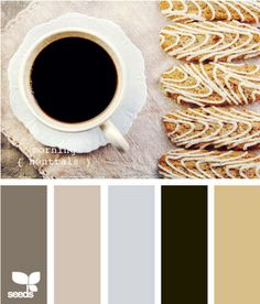 I LIKE this... this color palette lets you use browns and blacks, is super compatible with black & white wall art, and fits my newfound wheat obsession and my continued coffee obsession. Possible kitchen color scheme.....I don't think I would do the black