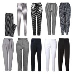 """""""monochrome trousers"""" by wilypr on Polyvore featuring Dondup, Phase Eight, Topshop, Mihara Yasuhiro, New Look, Alberto Biani, Lands' End and Alexander McQueen"""