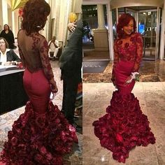 Vintage Mermaid Evening Gowns Long Sleeves Dark Red Illusion Top Rose Flower Satin Lace Prom Dressess Arabic Women's Pageant Party Wear Online with $141.21/Piece on Marrysa's Store | DHgate.com
