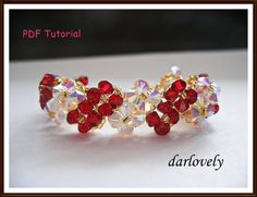 Swarovski Red Crystal Flower Bracelet BB097  PDF by darlovely, $6.60