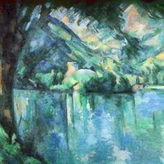 """""""Lago di Annecy"""",paul Cezanne,1898. Cezanne è considerato il primo pittore moderno,per aver abolito l'uso convenzionale della prospettiva. La composizione presenta strutture dai colori concordi tra il blu e il giallo,e l'acqua del lago pare ispirata alla pittura di Monet. In contrasto,i pendii sono massicci e plastici, dalle superfici sfaccettate e tridimensionali. Il fogliame in primo piano stabilisce l'angolazione;gli oggetti vicini appaiono sfocati,e sempre più nitidi in lontananza."""