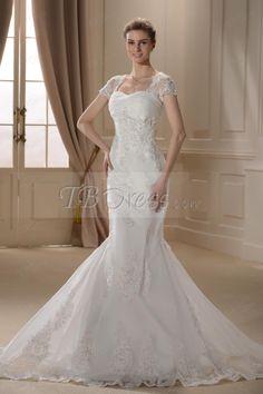 Glamorous Trumpet/Mermaid Short-Sleeves Court Train Wedding Dress