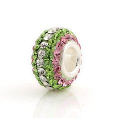Pink Clear & Green Multiple Color Cz Crystal Charm 925 Sterling Silver Charm Crystal bead for European Charm Bracelet large hole bead. $10.99, via Etsy.