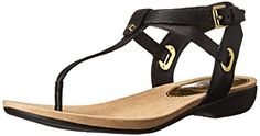 """Lauren Ralph Lauren Women's Kiana Flip Flop, Black Burnished Vachetta, 8.5 B US. Leather Upper and Man-Made Outsole. Synthetic sole. Leather upper with a Open Toe. Man-Made outsole lends lasting traction and wear. Approx. 1"""" Heel Height, 1/4"""" Platform."""