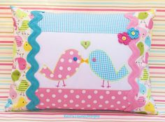 PATCHWORK PILLOW, applique pillow, kissing birdies, love birds, Robert kaufman fabric, spring birdies cushion, KerryJayneDesigns, baby gift.