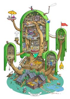 Exploring Land of Ooo. Inside the Tree Fort. on Behance by Max Degtyarev