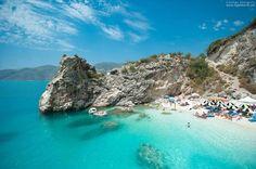 The Famous White Sand Beach oh Saliara aka Marble Beach in Thassos Island