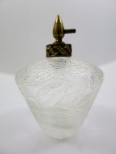 Perfume Spray Bottle  Mid Century Perfume Bottle Iced Glass Frosted Glass Pattern Decorative Atomizer Top Gold Tone Clear Crackled Glass