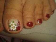 Pedicure Designs, Toe Nail Designs, Pretty Toe Nails, Cute Nails, Hair And Nails, My Nails, Nails 2017, Flower Nail Art, Toe Nail Art