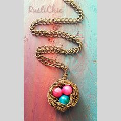 Every mama bird needs this handmade eggs nest necklace. Customizable with your children's birthstone colors.