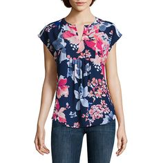 Liz Claiborne Short Sleeve Split Crew Neck Woven Blouse - JCPenney