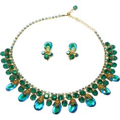 Gorgeous Tiered Crystal Emerald Rhinestones Necklace Set at The Jewel Collection on Ruby Lane