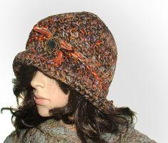 rustic brooch cloche #crochet beanie be Renate Kirkpatrick