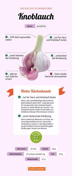 Knoblauch You should know about garlic Superfood, Health And Nutrition, Health And Wellness, Food Facts, Health Facts, Healthy Lifestyle, Garlic, Clean Eating, Herbs