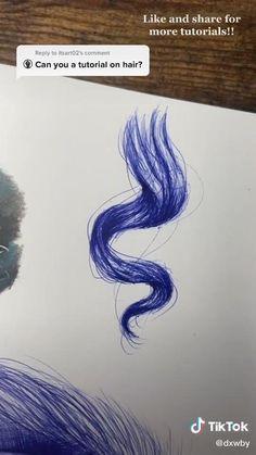 Art Drawings Sketches Simple, Realistic Drawings, Easy Drawings, Drawing Hair Tutorial, How To Draw Hair, Drawing Techniques, Art Sketchbook, Love Art, Cartoon Art