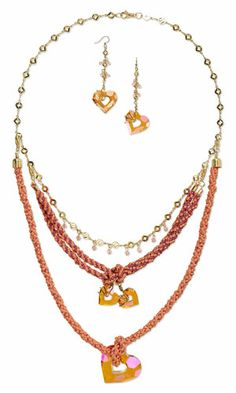 Multi-Strand Necklace and Earring Set with SWAROVSKI ELEMENTS, Kumihimo Purely Silk™ Thread and Gold-Plated Brass Chain