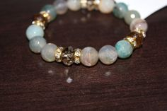 Agate Beaded Bracelet Handmade with Crystals by xoSimpleandChic, $20.00 http://www.stylewarez.com