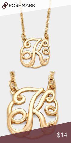"""'K' Monogram Necklace • Color : Gold • Theme : Monogram  • Necklace Size : 16"""" + 3"""" L • Pendant Size : 0.75"""" X 0.75"""" • 'K' CIRCLE SCRIPT MONOGRAM PENDANT NECKLACE Jewelry Necklaces"""