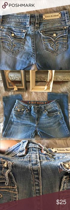 Rock Revival Capri Jeans * Light scuffing on the patch and it is missing the 'e' in Revival * Two small tears on the pocket seem. See picture #3  Size 31x20  #ROCK REVIVAL Rock Revival Pants Capris