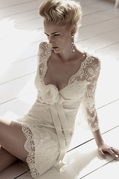 Deep V-neck, Long Sleeve, Lace #Short #Wedding #Dress ♡ For how to organise an entire wedding ... on a budget https://itunes.apple.com/us/app/the-gold-wedding-planner/id498112599?ls=1=8 ♥ THE GOLD WEDDING PLANNER iPhone App ♥  http://pinterest.com/groomsandbrides/boards/ for an abundance of wedding ideas ♡