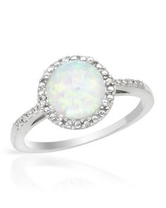 Diamonds and created opal crafted in sterling silver