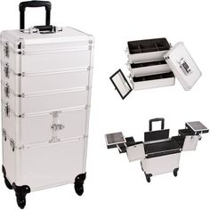Sunrise Silver Dot 3 Tiers Accordion Trays Professional Rolling Aluminum Cosmetic Makeup Craft Storage Organizer Case and Stackable Trays with Dividers I3364DTSL