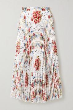 Paul & Joe Pleated Floral-print Voile Midi Skirt In White Paul Joe, Floral Pleated Skirt, Midi Skirt, Satin, Womens Maxi Skirts, White Skirts, Parisian, Tie Dye Skirt, High Waisted Skirt