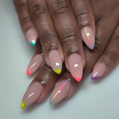 Neon Toe Nails, Pink Acrylic Nails, Glam Nails, Dope Nails, Nail Manicure, Fun Nails, Pretty Nails, Stiletto Nails, Coffin Nails
